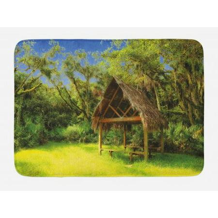 Tiki Bar Bath Mat, Tiki Hut in Dreamy Fantasy Forest Tropical Island Wildlife Greenery Art, Non-Slip Plush Mat Bathroom Kitchen Laundry Room Decor, 29.5 X 17.5 Inches, Green Blue Brown, Ambesonne (Tiki Hut Kits)