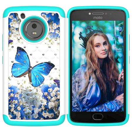Moto E4 Case (U.S. Version), Moto E 4th Generation Case, Moto G5 Case, Allytech 2 in 1 Back Defender Cover with Bling Diamond for Motorola Moto E 4th Generation/G 5th Generation Blue