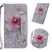Galaxy S9 Case, Allytech 3D Bling Crystal Rhinestone Slim PU Leather Flip Cover Stand Protective Book Case Cover for Samsung Galaxy S9 Phone, Pink Floral