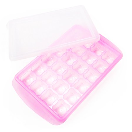 Pink Pouch - JMGreen RRe [24 Sections, 0.3oz/Section] Bento Box Freezer Tray with Date Slider. Flexible, Twistable Pop Push Method. BPA Free. Double Sealing Lid Provided. [Pink]