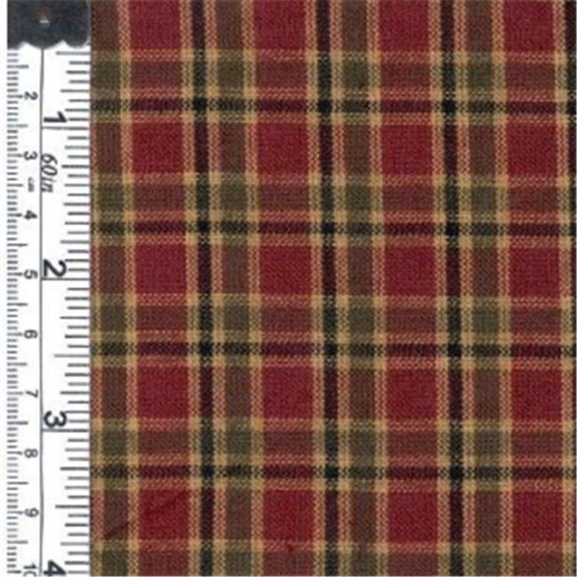Textile Creations 1012 Rustic Woven Fabric, Plaid Wine And Dark Green, 15 yd.