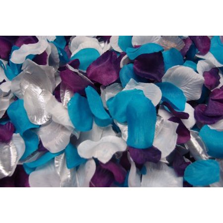 300pc Mixed Color Rose Petals Purple, Malibu / Turquoise, White, Silver Wedding Table - Purple And Turquoise Wedding Ideas
