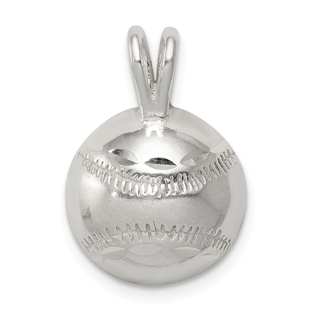 Sterling Silver Baseball Charm (0.5in)