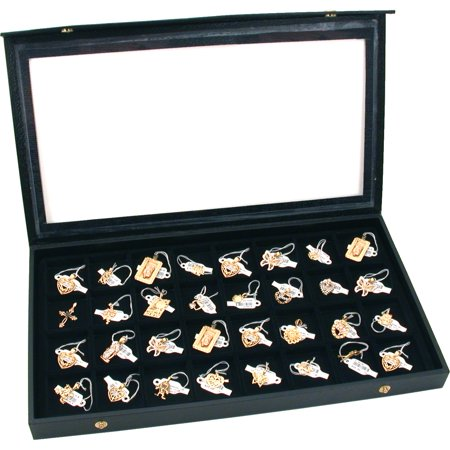 Earring Display Case (Jewelry Box Holder Tray 32 Earring Display Case Organizer Storage Black)