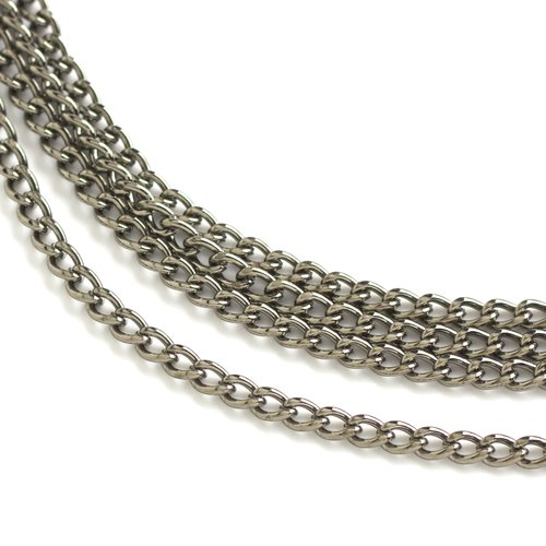 Small Oval Link Chain, Gunmetal