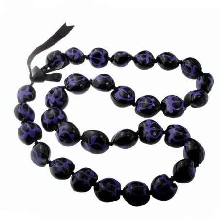 Hawaii Black & Purple Turtle Kukui Nut Lei Necklace