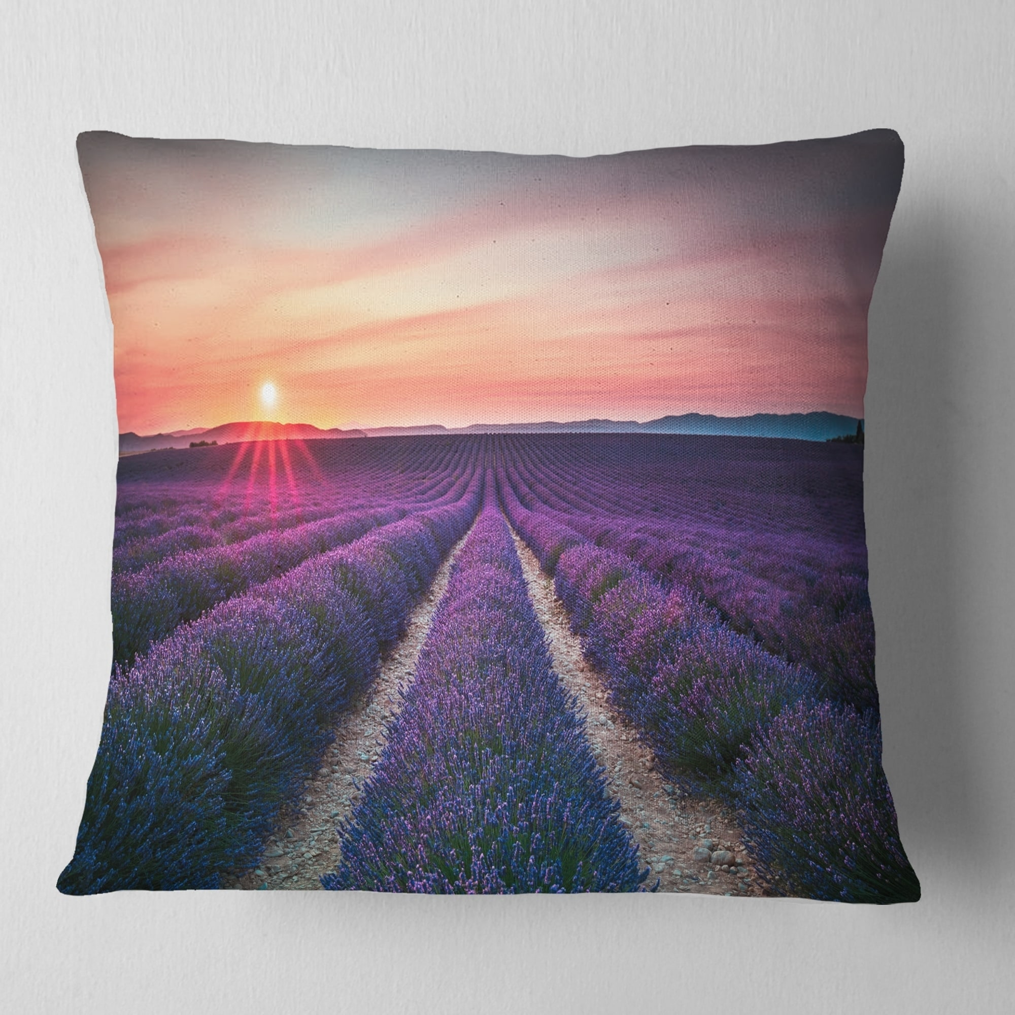 Design Art Designart Endless Rows Of Lavender Flowers Modern Landscape Printed Throw Pillow Walmart Com Walmart Com