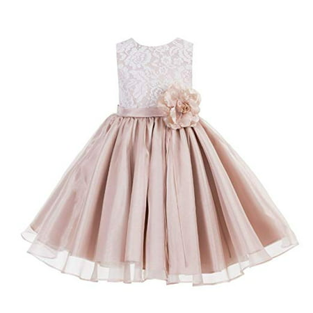 Lace Organza Flower Girl Dress Pageant Gown Ballroom Dance Evening Gown Girl Lace Dresses Daily Dresses Princess Dresses Special Occasion Dresses Toddler ...