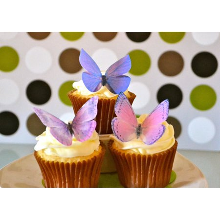 Purple Cake Decorations (Edible Butterflies © -Large Purple Set of 12 - Cake and Cupcake Toppers,)