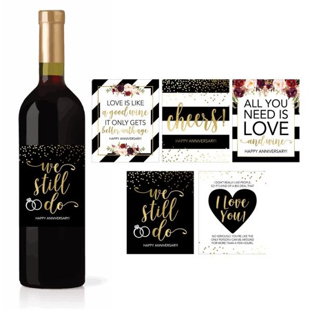 5 Wedding Anniversary Wine Label Stickers For 20th 25th 30th 40th 50th Gift Ideas, Best Funny Cute Romantic Marriage Couple Presents For Him or Her, Men or Women Accessories Supplies and (15th Wedding Anniversary Gift Ideas For Him)