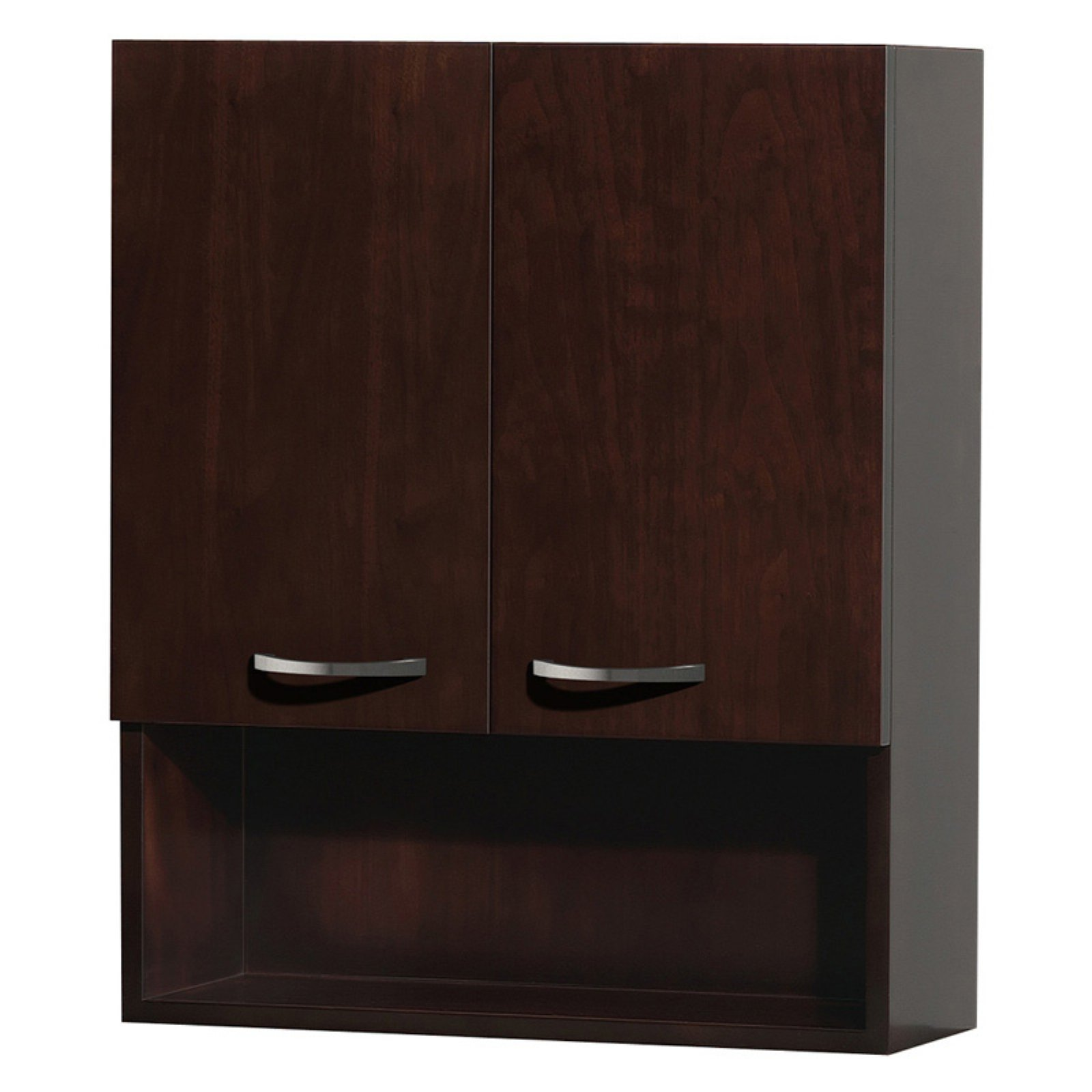 Wyndham Collection Maria Wall-Mounted Bathroom Storage Cabinet in Espresso with 3 Shelves