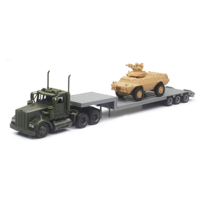 New-Ray 15963 Military Kenworth With Lowboy Trailer Hauli...