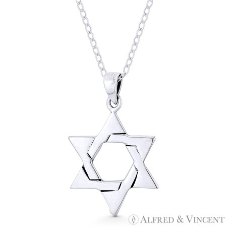 - Star of David / Jewish Magen Charm Pendant & Chain Necklace in Oxidized .925 Sterling Silver