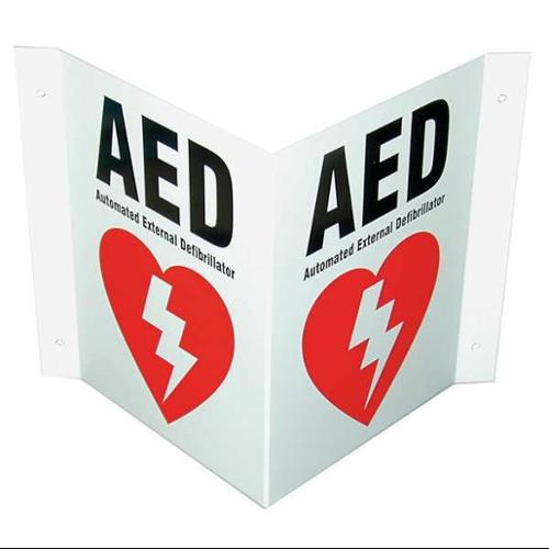 DEFIBTECH DAC-230 Safety Sign,AED,V-Shaped,10x8 In.