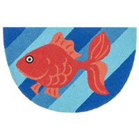 "Alexander Home Hand-hooked Marcy Blue/ Orange Goldfish Hearth Rug (1'9 x 2'9) - 1'9"" x 2'9"" Hearth"
