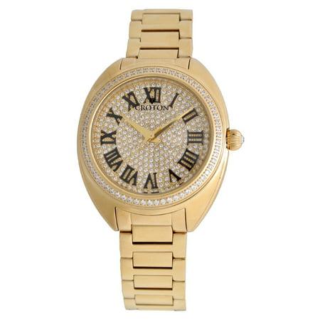 (Croton Ladies Goldtone Swiss Quartz Watch with Set CZ Bezel and Pave Dial)