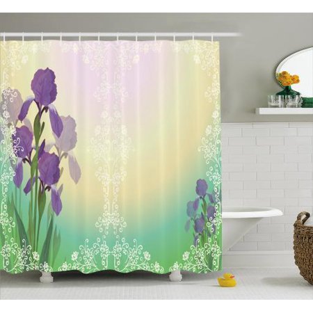 Botanical Shower Curtain, Blossoming Iris in Floral Frame on Dreamy Colors Bridal Composition Wedding Theme, Fabric Bathroom Set with Hooks, 69W X 70L Inches, Multicolor, by Ambesonne