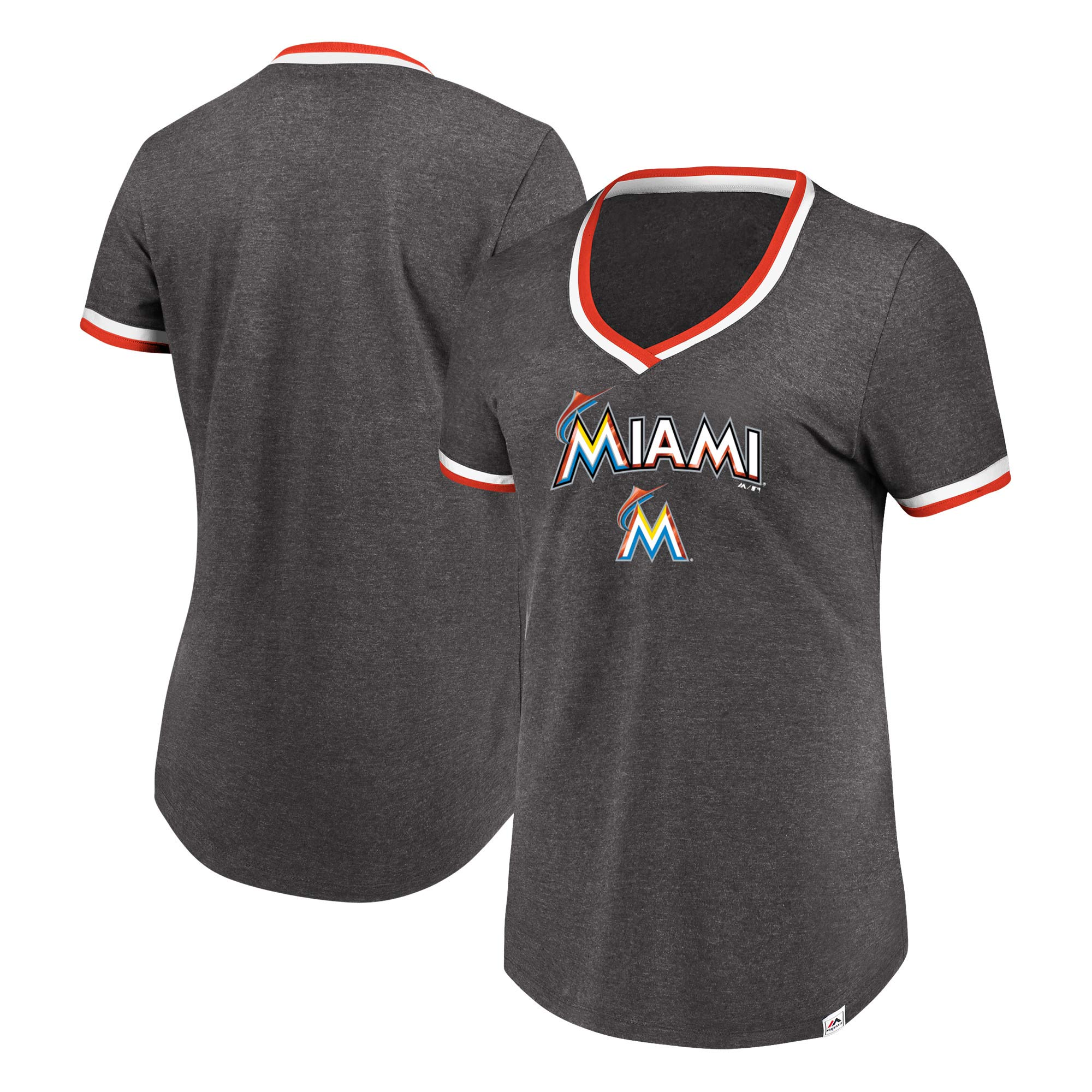 Miami Marlins Majestic Women's Driven By Results V-Neck T-Shirt - Charcoal