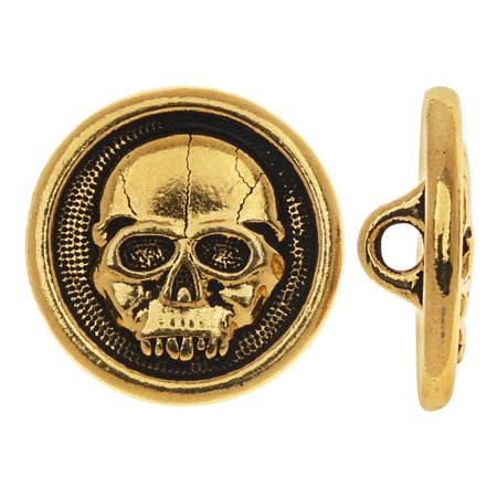 TierraCast Pewter, Round Button Scary Skull Face 16.5mm, 1 Piece, Antiqued Gold