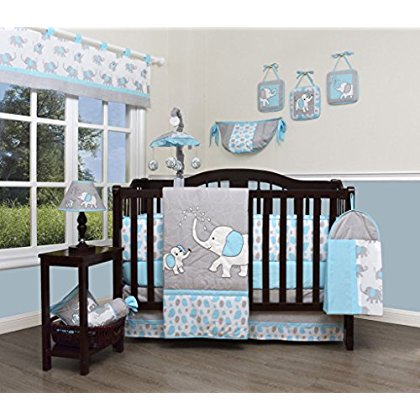 Geenny Boutique Baby 13 Piece Nursery Crib Bedding Set Blizzard Blue Grey Elephant