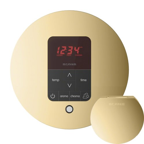 iTempo Plus Round Steam Shower Control in Polished Brass