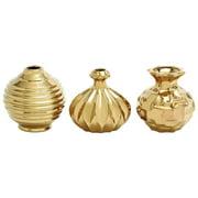 3-Pc Ceramic Vase Set in Gold
