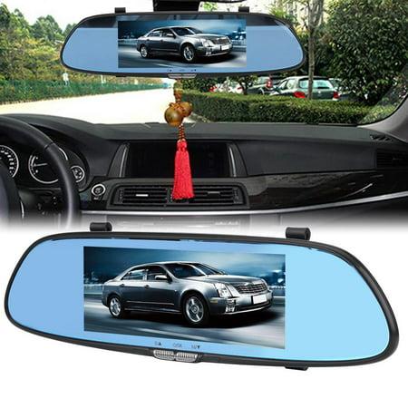 Dilwe HD Car DVR, Car DVR Camera,7inch 1080P HD Car DVR Dual Lens Camera Rear View Mirror Driving Video Recorder Night - Surveillance Mirror