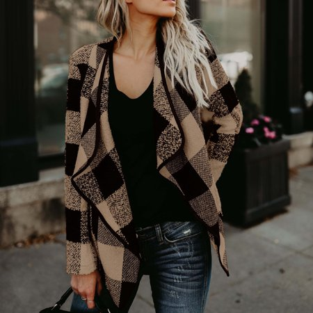 - Women Fashionable Chic Winter Autumn Warm Woolen Coat Plaid Warm Cardigan Tops Long Sleeve Jacket Outerwear Overclothes Khaki 1X
