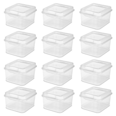 Sterilite Fliptop Box, Clear, Set of 12