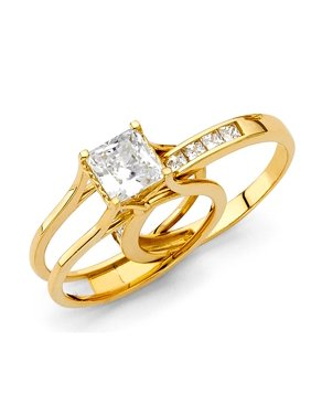 9578d40b6 Product Image 1.25ctw Princess Cut Channel Set CZ Bridal 14k Yellow Gold  Engagement With Match Band Promise
