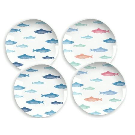 Mainstays Fish Melamine Dinner Plate, 4 Piece Set ()