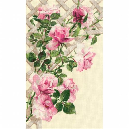 Pink Roses On Lattice Counted Cross Stitch Kit-13.75x21.75 16 Count