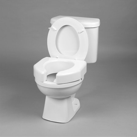 Maddak Raised Toilet Seat 3 Inch White 350 Lbs Capacity