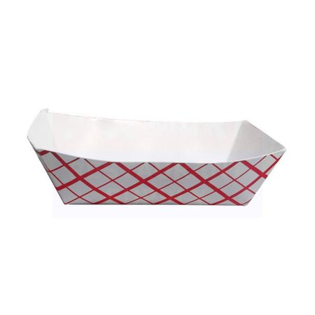 Eco Serveware - Eco Friendly 5 x 3 x 1 Red Plaid Metric Paper Food Tray/Case of 1000