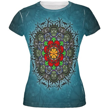 Halloween Classic Movie Monster Mandala All Over Juniors T Shirt - M And M Halloween Movie Game