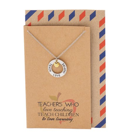 Quan Jewelry Teachers Gifts, Teach Love Inspire Necklace and Thank You Card, 16-inch to 18-inch