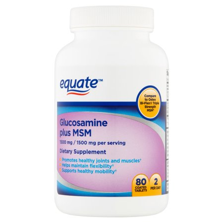 equate Glucosamine Plus MSM Complément alimentaire, 1500mg, 80 count