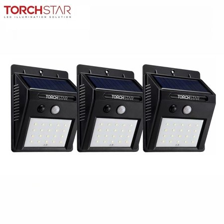 - TORCHSTAR 3 Pack Outdoor LED Solar Powered Motion Sensor Lights, Wireless Outdoor Wall Lighting, Black