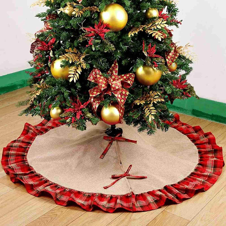 48 Inch Rustic Christmas Tree Mat Burlap Christmas Tree Skirt Red Black Plaid Trim Farmhouse Xmas Party Holiday Decorations Walmart Com Walmart Com