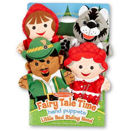 Melissa & Doug Fairy Tale Friends Hand Puppets (Set of 4) - Little Red Riding Hood, Wolf, Grandmother, and - Little Red Riding Hood And Wolf Costume