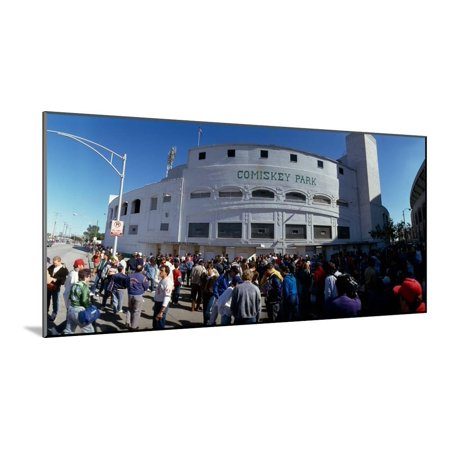 Spectators in front of a baseball stadium, U.S. Cellular Field, Chicago, Cook County, Illinois, USA Wood Mounted Print Wall Art