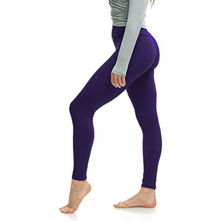 LMB Plus Size Extra Soft Leggings for Tall and Curvy with Yoga Waist - D Purple