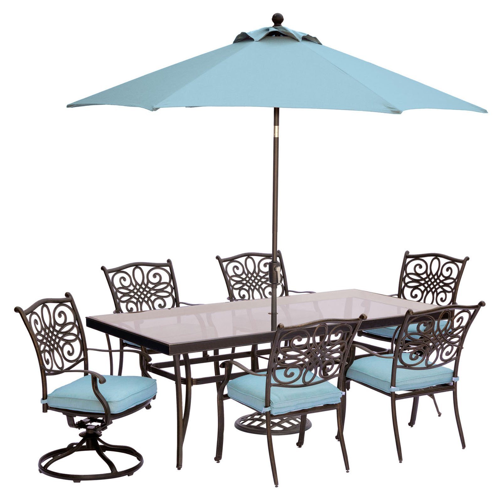 "Hanover Outdoor Traditions 7-Piece Dining Set with with 42"" x 84"" Glass-Top Table, 4 Stationary Chairs, 2 Swivel Rockers and Umbrella w/Stand"