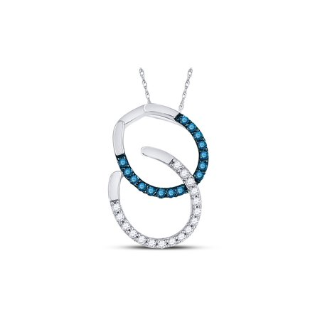 - 1/6 Carat (ctw G-H, I2-I3) Blue and White Diamond Fashion Pendant Necklace in 10K White Gold with Chain