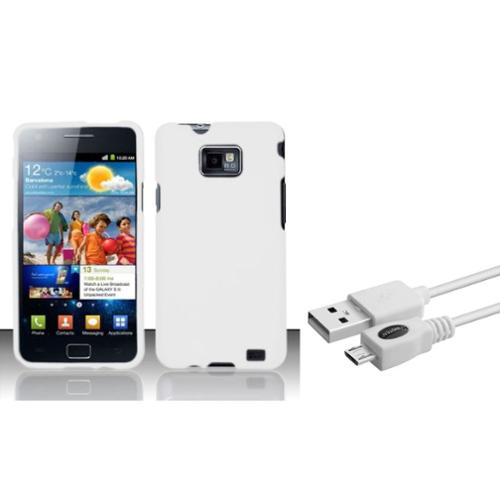 Insten White Rubberized Hard Case For Samsung Galaxy S II i777/i9100 (with USB Cable)