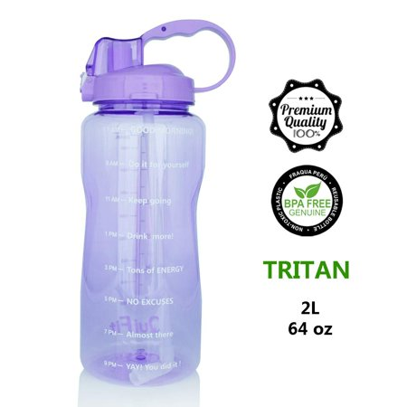 QuiFit Portable Drinking Straw Daily Water Bottle Sport Water Jug Gallon BPA Free Non Leak Design with Time Marked to Ensure You Drink Enough of Water Throughout The Day 64oz & 128oz 64oz/purple