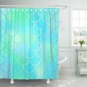 KSADK Colorful Fantastic Blue Mint Fish Skin Mermaid Scale Tail in Pastel Colors Aqua Bathroom Shower Curtain 60x72 inch