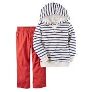Carters Infant & Toddler Boys 2-Piece Hoodie Shirt & Red Pants Playwear Set NB