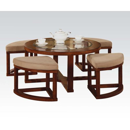 Magnificent Patia Round Cherry Finish Coffee Table And Ottoman Set Dailytribune Chair Design For Home Dailytribuneorg
