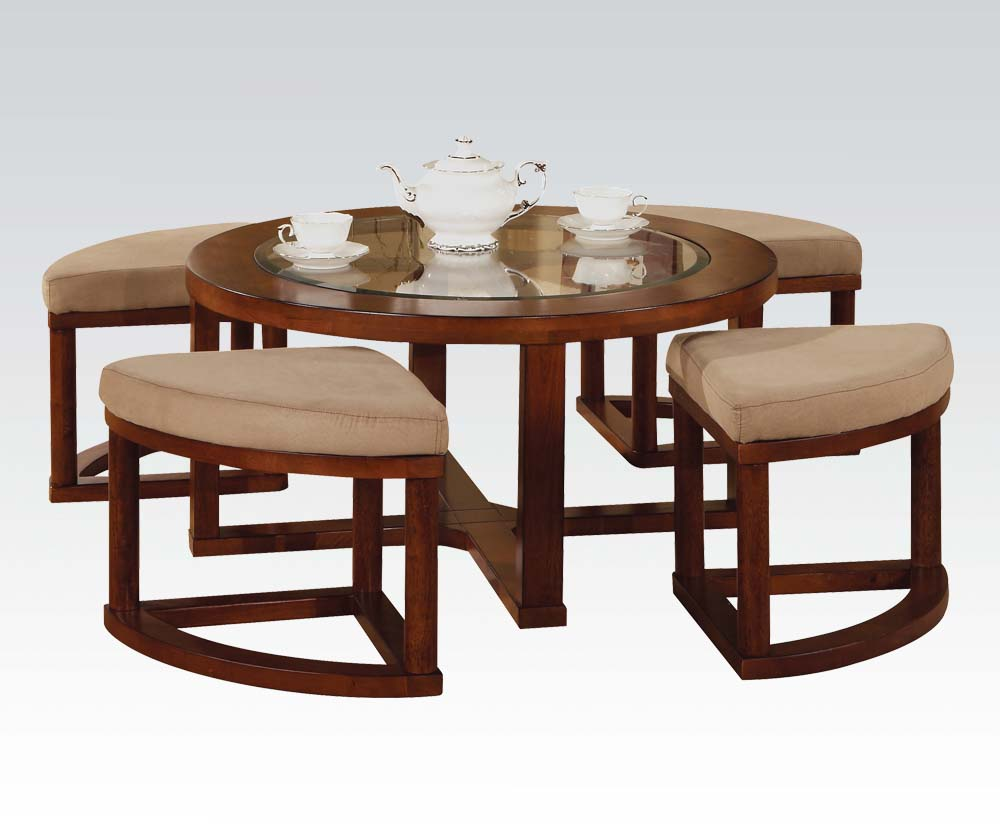 Merveilleux Patia Round Cherry Finish Coffee Table And Ottoman Set
